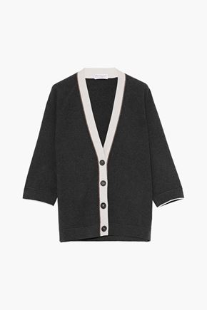 BRUNELLO CUCINELLI Bead-embellished virgin wool, cashmere, and silk-blend cardigan