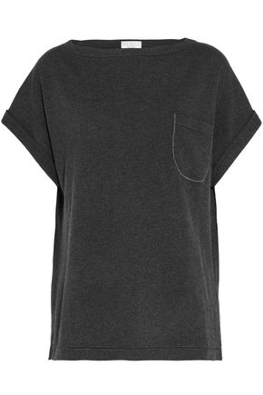 BRUNELLO CUCINELLI Bead-embellished ribbed-knit cashmere top