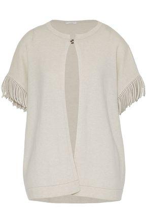 BRUNELLO CUCINELLI Bead-embellished fringed cashmere cardigan