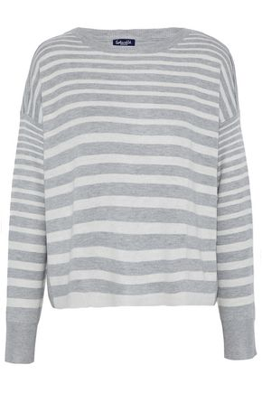 SPLENDID Split-back striped stretch-knit top