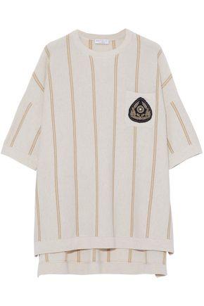 BRUNELLO CUCINELLI Appliquéd metallic striped cashmere top