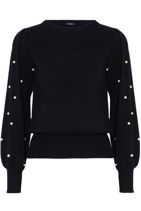 RAOUL Faux pearl-embellished cotton-blend sweater