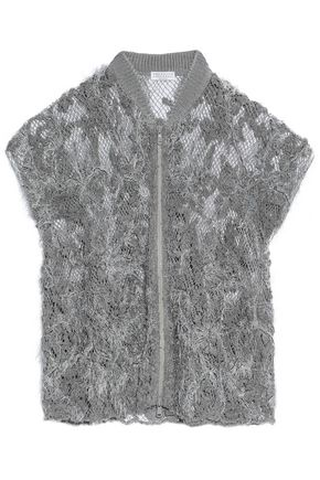BRUNELLO CUCINELLI Sequin-embellished open-knit linen and silk-blend jacket