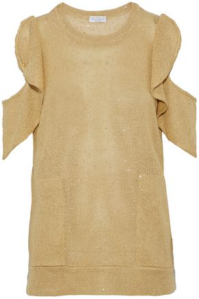 BRUNELLO CUCINELLI Sequined ruffled cold-shoulder linen and silk-blend knitted top