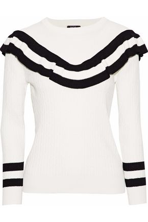 RAOUL Ruffled striped cable-knit cotton-blend sweater