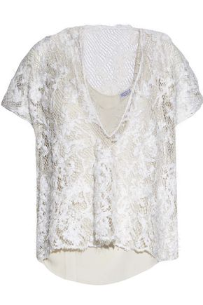 BRUNELLO CUCINELLI Embellished open-knit linen and silk-blend top