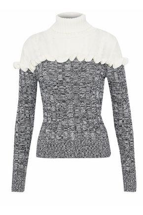 RAOUL Ruffled two-tone cotton turtleneck sweater