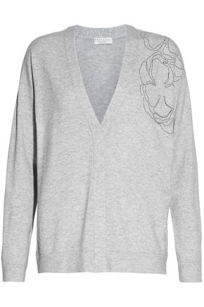 BRUNELLO CUCINELLI Bead-embellished melangé cashmere cardigan