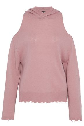RTA Juno cold-shoulder distressed cashmere hoodie