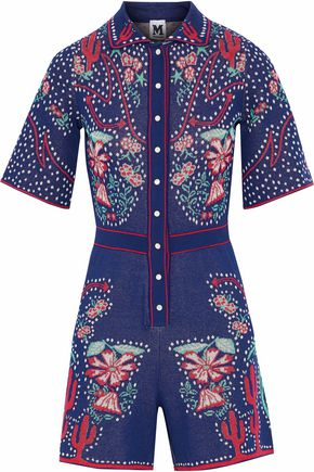 M MISSONI Jacquard-knit cotton-blend playsuit