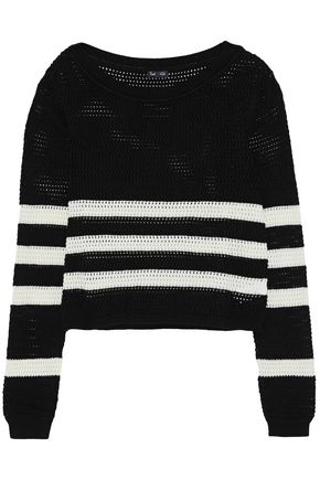 SPLENDID Striped open-knit cotton-blend sweater