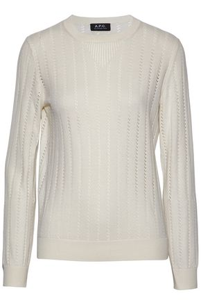 A.P.C. Pointelle-knit cotton, silk and cashmere-blend sweater