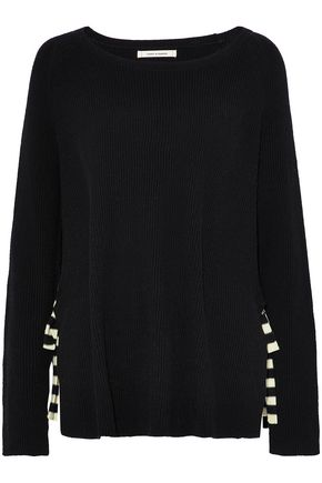 CHINTI AND PARKER Striped bow-detailed ribbed wool and cashmere-blend sweater