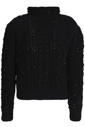 CO Beaded wool and cashmere-blend turtleneck sweater
