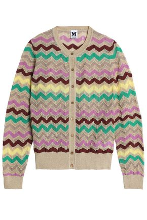 M MISSONI Striped cotton-blend open-knit cardigan
