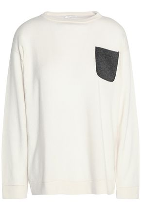 BRUNELLO CUCINELLI Crystal-trimmed two-tone cashmere sweater
