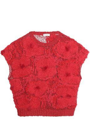 BRUNELLO CUCINELLI Floral-appliquéd open-knit top