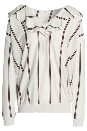 BRUNELLO CUCINELLI Ruffled striped mélange cotton-jersey top