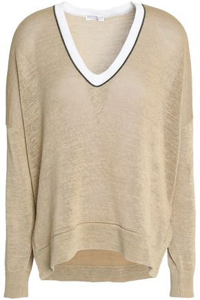 BRUNELLO CUCINELLI Bead-embellished open-knit cotton sweater
