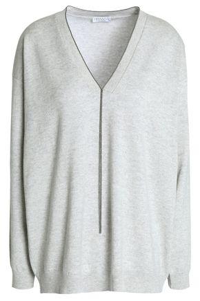 BRUNELLO CUCINELLI Crystal-trimmed mélange cashmere sweater
