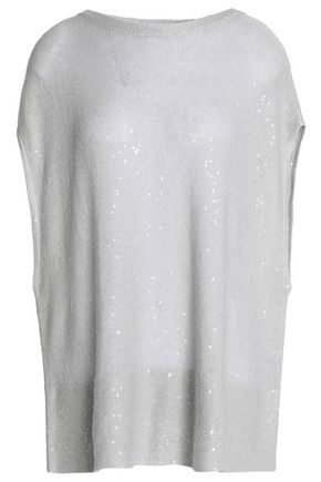 BRUNELLO CUCINELLI Sequined linen-blend top