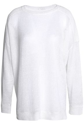 BRUNELLO CUCINELLI Sequined knitted linen and silk-blend top