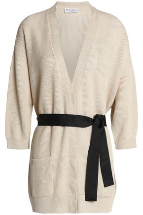 BRUNELLO CUCINELLI Belted knitted linen and cotton-blend cardigan