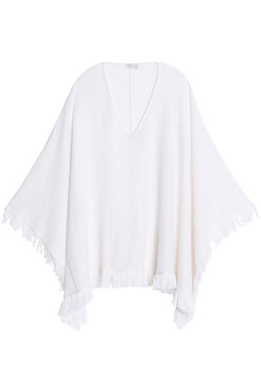 BRUNELLO CUCINELLI Fringe-trimmed sequined linen and silk-blend poncho