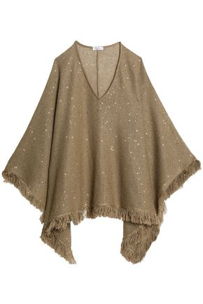 BRUNELLO CUCINELLI Fringe-trimmed sequined linen and silk-blend poncho