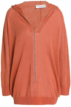 BRUNELLO CUCINELLI Crystal-trimmed linen-blend hooded top