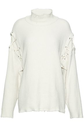 IRO Lace-up distressed cotton-blend turtleneck sweater