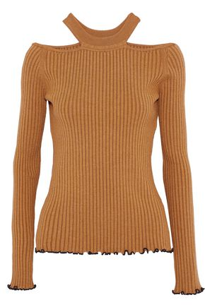 WOMAN CUTOUT RIBBED-KNIT TOP CAMEL