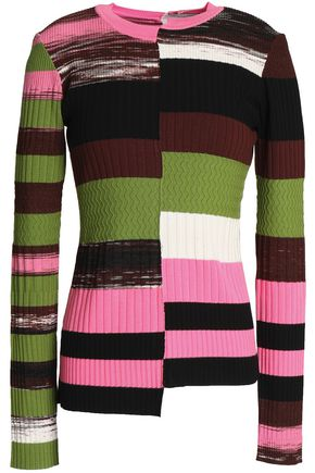 OPENING CEREMONY Asymmetric color-block ribbed-knit top