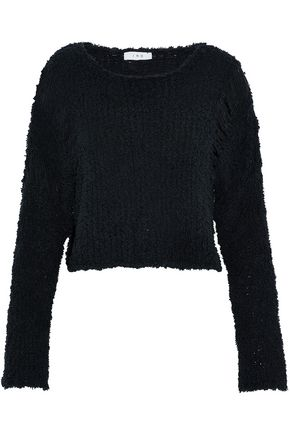 IRO Cropped frayed open-knit cotton-blend sweater