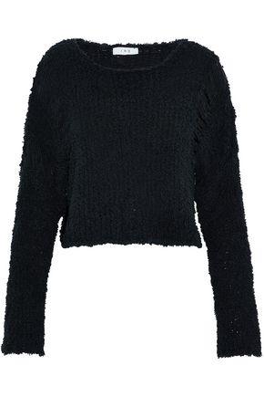 IRO Cropped frayed open-knit cotton-blend sweater