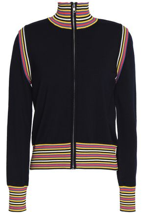 TORY BURCH Striped wool-blend cardigan