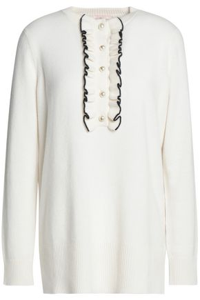 TORY BURCH Ruffle-trimmed cashmere sweater