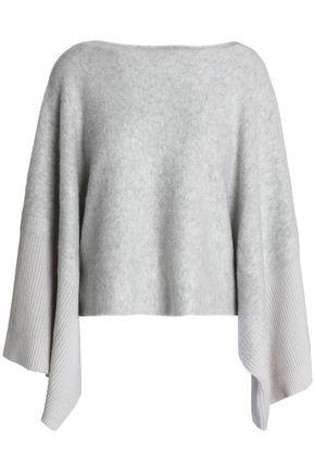AMANDA WAKELEY Ribbed-paneled mélange wool-blend poncho