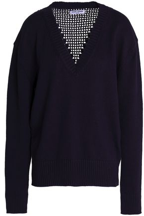 OPENING CEREMONY Open knit-paneled embellished cotton sweater