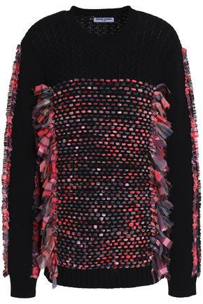 OPENING CEREMONY Woven-paneled open-knit wool and cotton-blend sweater