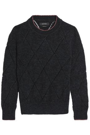 ISABEL MARANT Open knit-trimmed knitted swetaer