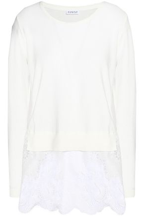 CLAUDIE PIERLOT Lace-paneled cotton-blend sweater