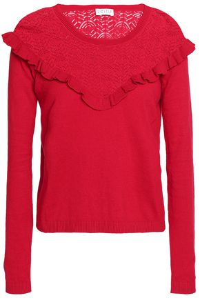 CLAUDIE PIERLOT Ruffle-trimmed pointelle-knit cotton, silk and cashmere-blend top
