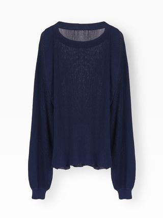 Pleated knit sweater