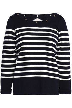 CLAUDIE PIERLOT Cutout studded striped cotton sweater