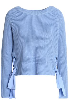CLAUDIE PIERLOT Lace-up cotton-blend sweater