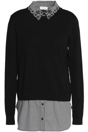 CLAUDIE PIERLOT Marylou layered gingham poplin and cotton-blend sweater