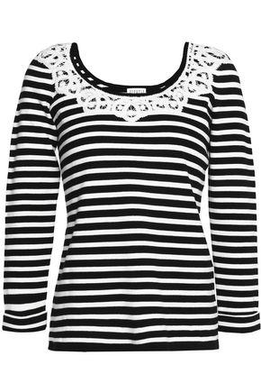 CLAUDIE PIERLOT Lace-trimmed striped cotton top