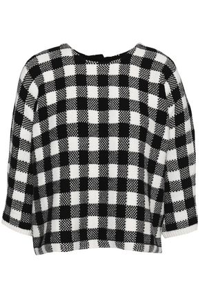 MAJE Gingham jacquard-knit cotton-blend sweater
