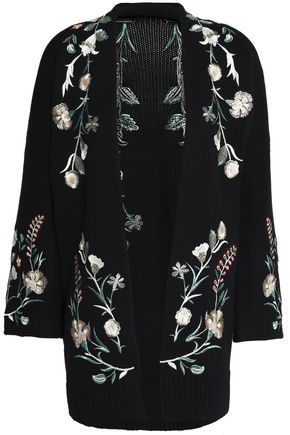 MAJE Embroidered cotton-blend cardigan